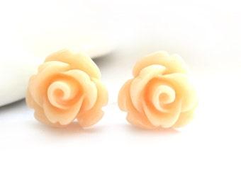 SALE - Apricot Rose Stud Earrings