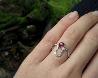 Rhodolite garnet silver ring