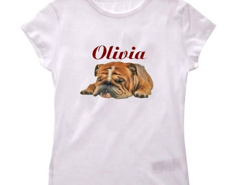 Girl dog personalized with name t-shirt