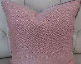 """18"""" SQ. Pink herringbone pillow COVER ONLY"""