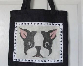 Boston Terrier Cross Stitch Eco Indigo Blue Denim Tote Bag