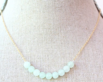 Pale Jade Necklace, Jade necklace, Jade jewelry, Gemstone necklace, Minimalist necklace, Delicate necklace, Natural Jade, Thin chain