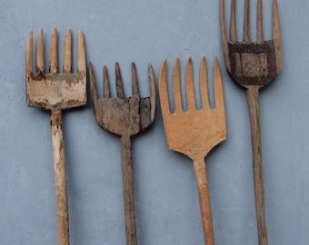 Vintage Pitch Fork Collection, Wooden Farm Tools Shabby Chic between 1930's-1960's Five Tines