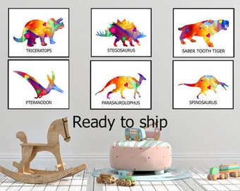 dinosaur print dinosaurs print gift for kids boys room prints girls room prints dino print custom prints kids Dinosaur prints kids room