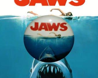 "H021 Jaws 1"" Pinback Button Pin Cult Classic Horror Cinema Film Movie Shark"