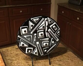 Black & White Art Deco Style Fused Glass Circle, Unique Glass Art, Hostess Gift