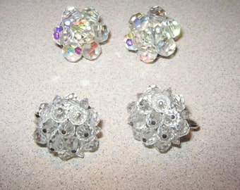 2 Pairs Crystal Clip on Earrings Vintage Costume Jewelry #5229