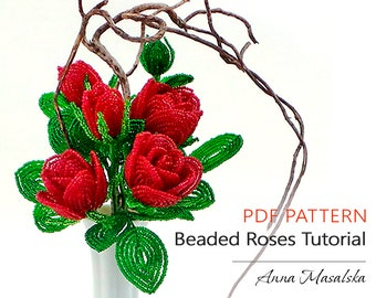 PDF Pattern French Beaded Rose PDF Tutorial DIY Beading Pattern Seed Bead Fowers Spring Home Decor