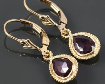 Garnet Earrings. Gold Filled Lever Back Ear Wires. Genuine Gemstone. Gold Framed Garnets. January Birthstone. s18e008