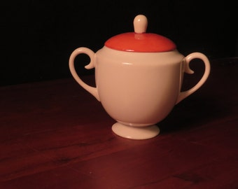 Sugar bowl bone china - antique, white with rust color lid
