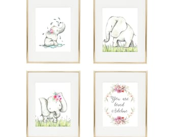 Elephant Nursery Decor, Baby Girl Nursery, Girl Elephant Baby Shower