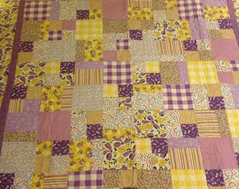 Purple Bows Throw Quilt