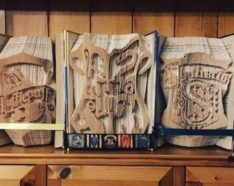 Harry Potter House Bookfold Set - Gryffindor, Hufflepuff, Hogwarts Crest, Slytherin, Ravenclaw / Harry Potter Gift