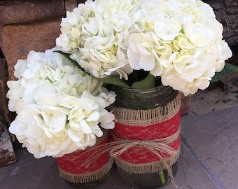Mason Jar Wrap, Burlap & RED Lace Mason Jar Decoration, Choose Size and Number of Wraps, Wedding, Shower, Party Decoration