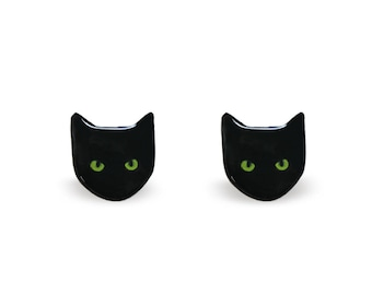 Black Cat Earrings - Cat Stud Earrings - Black Cat Stud Earrings - Hypoallergenic Surgical Steel Earrings -  Green Eye Cat Earrings