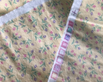 Yellow Cotton Flannel, Lavender Pink Tulips Print 1 1/4 Yards, pre-washed.  Estate.