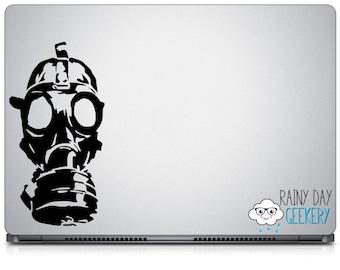Gas mask vinyl window decal - apocalypse - vinyl window decal - exterior window sticker