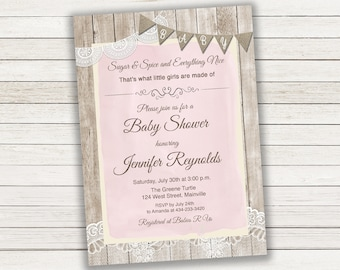Sugar and Spice, Baby Girl, Girl, Burlap, Lace, Wood, Rustic, Baby Shower Invitation - Digital Or Printed - FREE SHIPPING