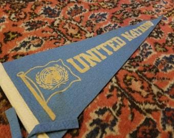 Vintage United Nations, NYC Souvenir Pennant