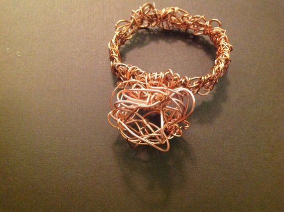 Bracelet Hand made random Coper metal ,twisted dome shape
