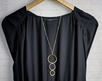Gold necklace geometric necklace long necklace circles necklace gold hoops minimalist necklace unique necklace gift for her