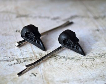 "Gothic Bird Skull Hairpin Bobby Pin. Small bird skull replica. Black or ""old bones"" color. MADE TO ORDER."