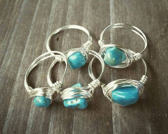 Blue Green Turquoise Southwest Wire Wrapped Rings~Any Size