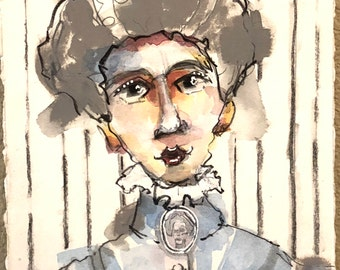 Little Sisters No. 38   Mixed Media Portrait, Paint, Collage, Original Art, Contemporary, Whimsical Art, Mitzi Easley