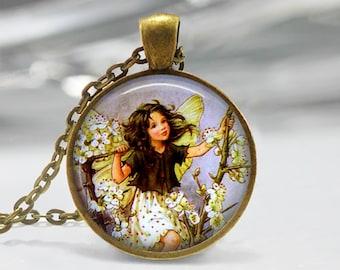 Fairy Pendant, Fairy Necklace, Fairy Jewelry, Fairy Jewellery, Vintage Fairy Art Pendant, Glass Dome Pendant, Faerie, Whimsical Fairy 1225