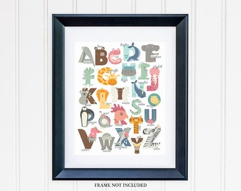 Alphabet Nursery Art, Alphabet Animals Nursery Print for Nursery Decor, Kids or Childrens Room Decor 2011