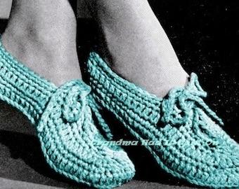 Crochet Pattern Booties Slippers - Crochet Bow Tie Pattern - Adult Slippers - Digital Pattern  - PDF Instant Download - Vintage Slippers