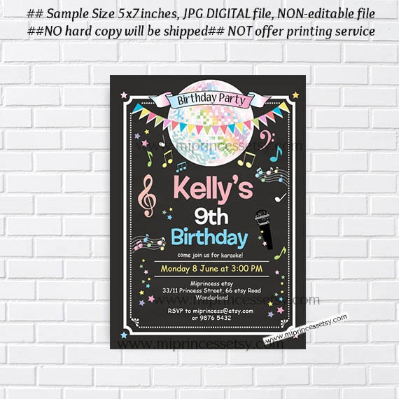 Karaoke birthday girl birthday karaoke invitation disco karaoke birthday girl birthday karaoke invitation disco birthday disco party girl party kids party singing dance party card 482 stopboris Image collections