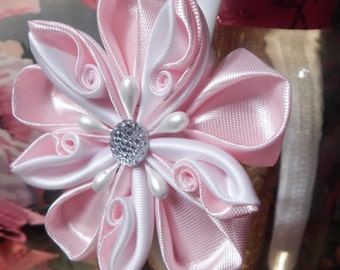 2 Ways Kanzashi Flower Hair Clip/Headband, Flower Girl Headband, Baby Pink Headband