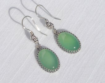 Green chalcedony and sterling silver earrings