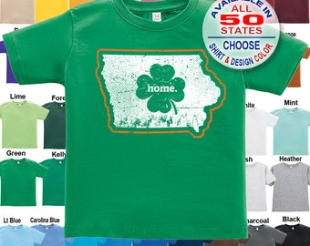 Iowa Home State Irish Shamrock T-Shirt - Boys / Girls / Infant / Toddler / Youth sizes