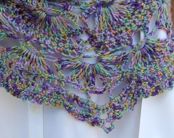 Scarf Lacy Watercolors, Neck and Shoulder Wrap Shawlet