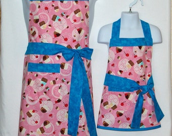 Mommy Apron, Pink Cupcake Aprons, Pink and Teal Matching Aprons, Customize With Names, No Shipping Fee, Ready To Ship TODAY 820