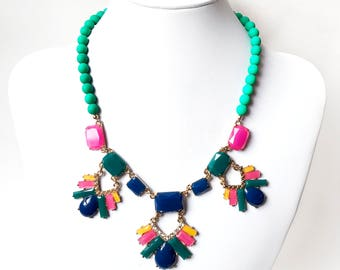 Necklace - Bright Summer Bib Necklace in Gold - Pink, Green, Navy, Yellow Statement Necklace - Unique Bib Necklace - Neon