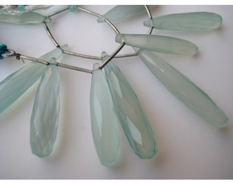 Aqua Chalcedony, Blue Chalcedony, Briolette Beads, Tear Drop Beads, Faceted Gemstones, 31mm To 21m Each