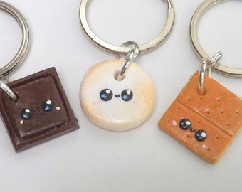 Friendship Keychains, Food Charms, Smores, Best Friend Keychains, Three Best Friends, Friendship Gift, Matching Keychains, Cute Charm