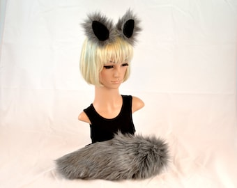 Gray Wolf Ear Tail Clip On Set Faux Fur