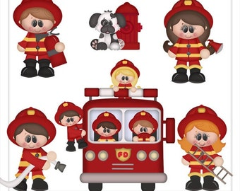 DIGITAL SCRAPBOOKING CLIPART - When I Grow Up Fireman