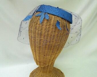 Vintage Ladies Halo Hat Sky Blue Fabric Leaves Veiled Fascinator