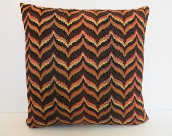 Flame Stitch Pillow Cover in Black Orange Rust Tan / Zigzag Pillow / Black Orange Pillow / Decorative Pillow / 18 x  18 Pillow