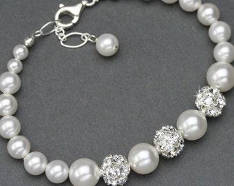 Pearl Bracelet, Pearl Bridal Jewelry, Rhinestone and Pearl Wedding Bracelet, Swarovski Wedding Jewelry, White or Ivory Pearl Bracelet