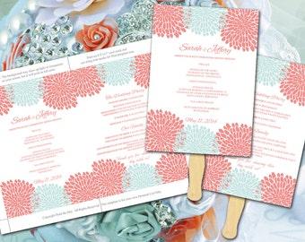 Chrysanthemum Wedding Fan Template - Ceremony Program Download - Peach Coral Mint Wedding Template - Outdoor Wedding Program Favor