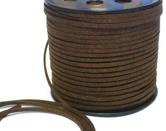 Brown Faux Suede Cord 3mm, Micro Fiber Vegan Leather Lace, Dark Coffee Beading Lace, Jewelry Making Cord, Braided Headband Making