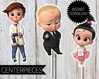 BOSS Baby Birthday Party PRINTABLE Character Centerpieces- Instant Download | DreamWorks | The Boss Baby Movie| Cake Toppers