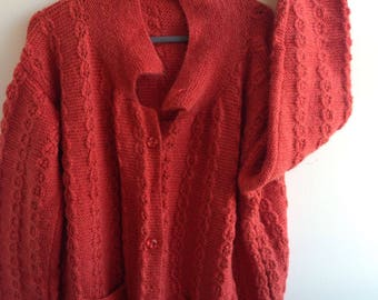 Red/Rusty Knitted Woollen Cardigan/Sweater with Pockets