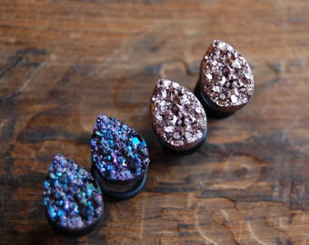 Tear Drop Shaped  Faux Druzy Rough Crystal Plugs Gauges for stretched earlobes.Rose Gold. Purple. Choose Size.2g (6mm) 0g (8mm), 00g (10mm)